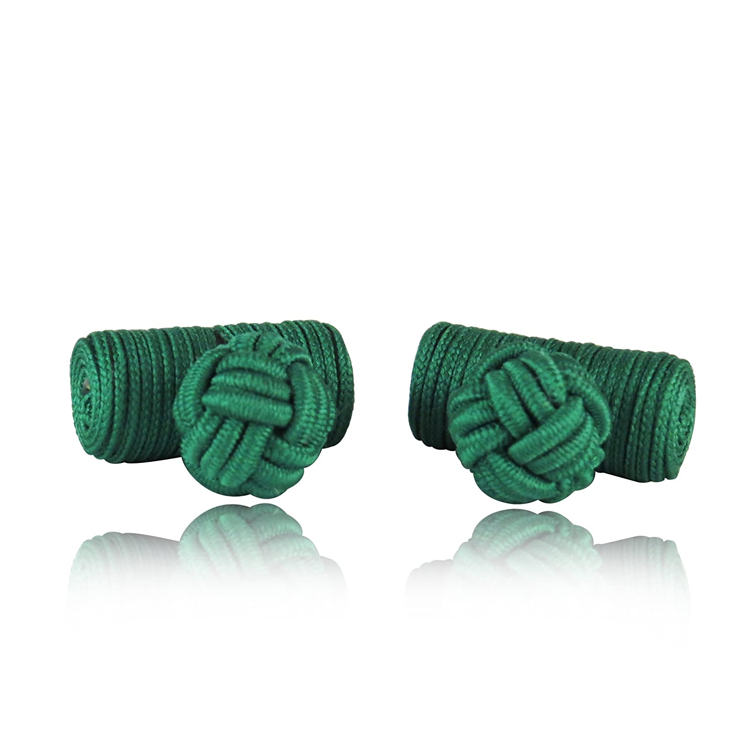 Classic Kelly Green Log Style Knot Cuff Links With Velour Pouch by Cuff-Daddy