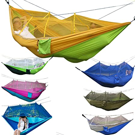 Well-Educated Portable High Strength Parachute Fabric Camping Hammock Hanging Bed With Mosquito Net Sleeping Hammock Sports & Entertainment Camping & Hiking