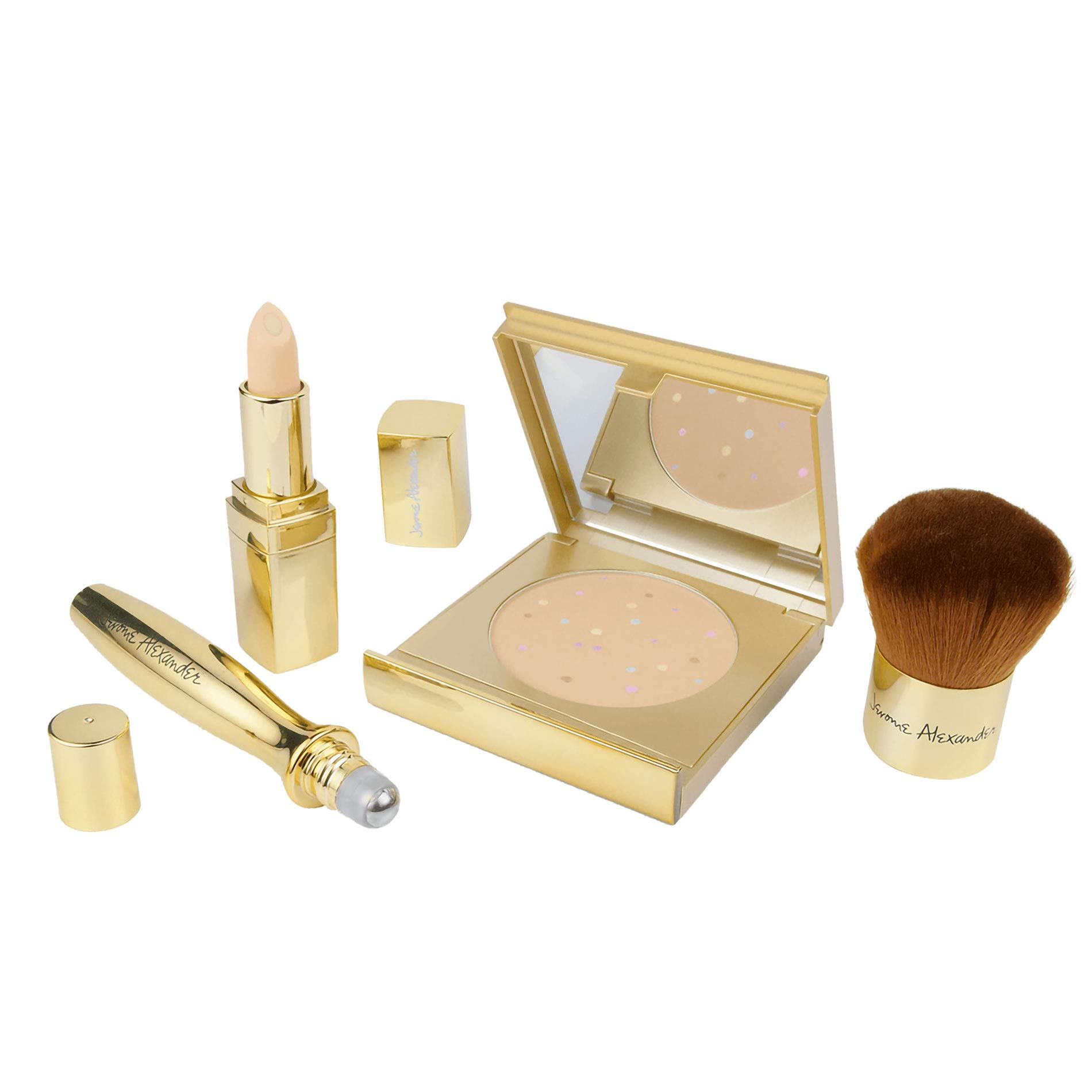 Jerome Alexander 50th Anniversary Holiday Makeup Gift Set - MagicMinerals Powder Gold Compact, Kabuki Brush, CoverAge Concealer and Rollerball - Limited Gold Edition 4-Piece Kit-Light