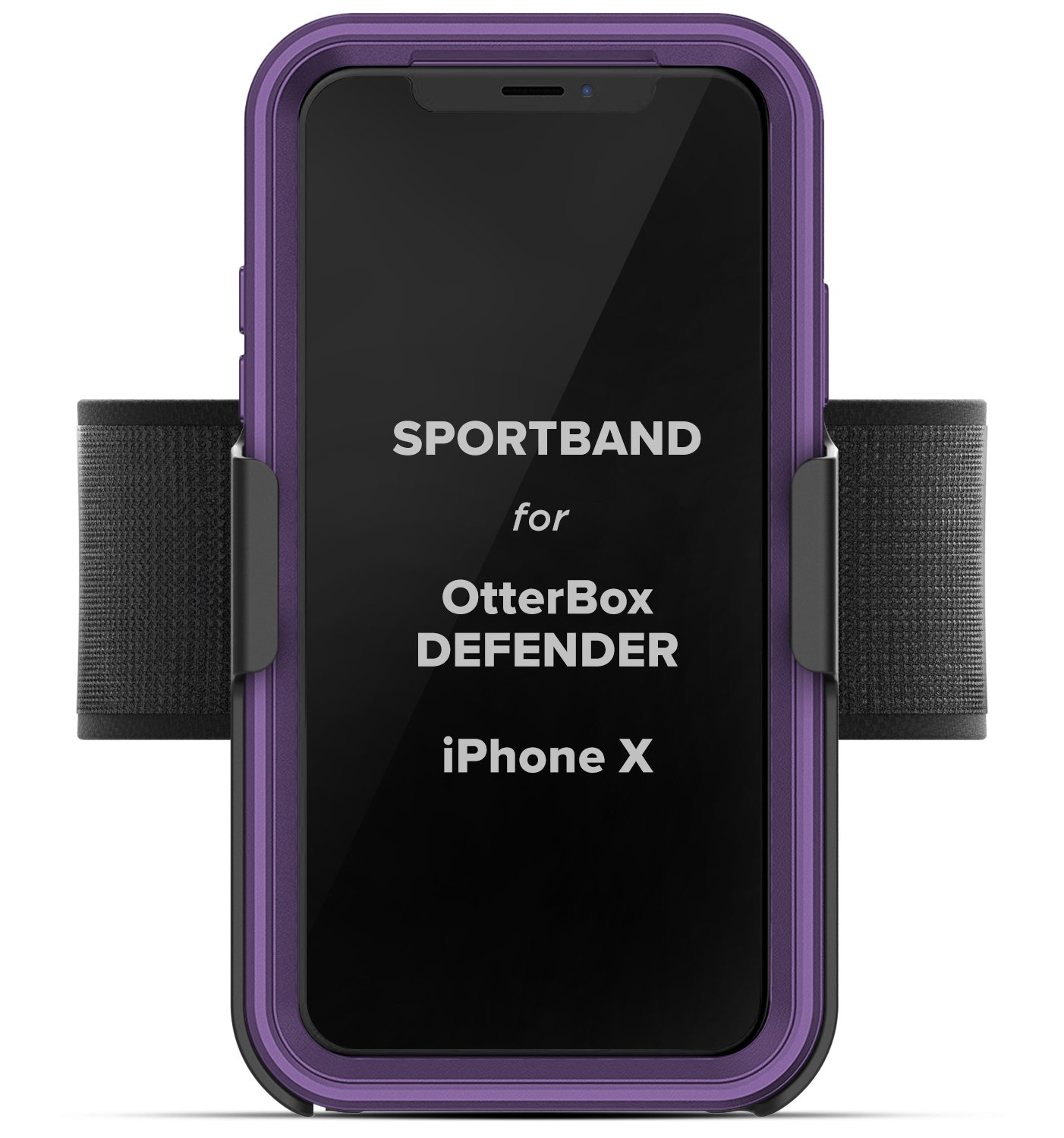 Workout Armband for Otterbox Defender Case, iPhone X (Encased) Adjustable Sports Band (Fits arm sizes XS-XXL) (case not included) AB45[04]