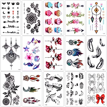 52ea4af03 Lady Up 15 Sheets Temp Body Art Temporary Tattoos Fake Tattoo for Women Men  Kids Dreamcatcher