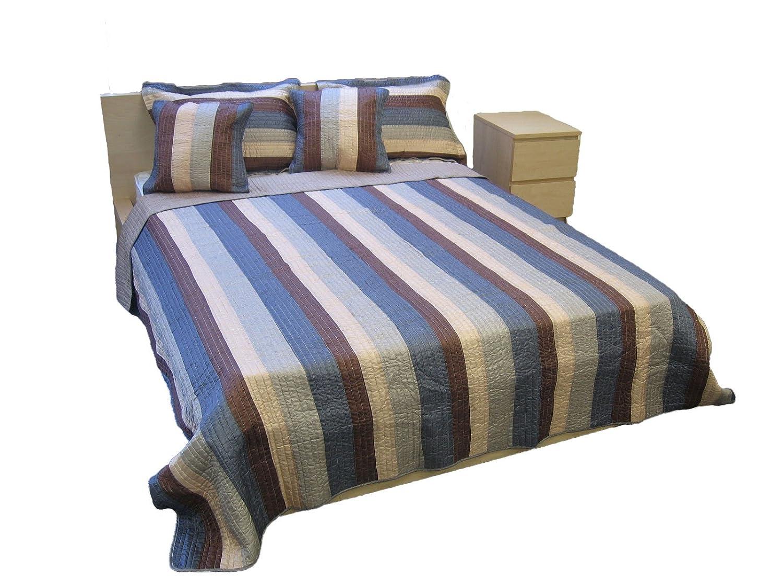 Twin DaDa Bedding DXJ101061 Stripe Satiny Polyester Patchwork 3-Piece Quilt Set Blue