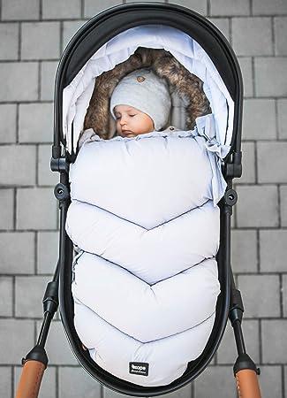 ZOPA Luxus saco de invierno Fluffy Saco de abrigo universal para cochecito de beb/é Foggy Grey
