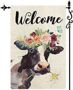 COSKAKA Welcome Cows Spring Summer Garden Flag Vertical Double Sided Black White Buffalo Check Plaid Rustic Farmland Burlap Yard Lawn Outdoor Decor 12.5x18 inch