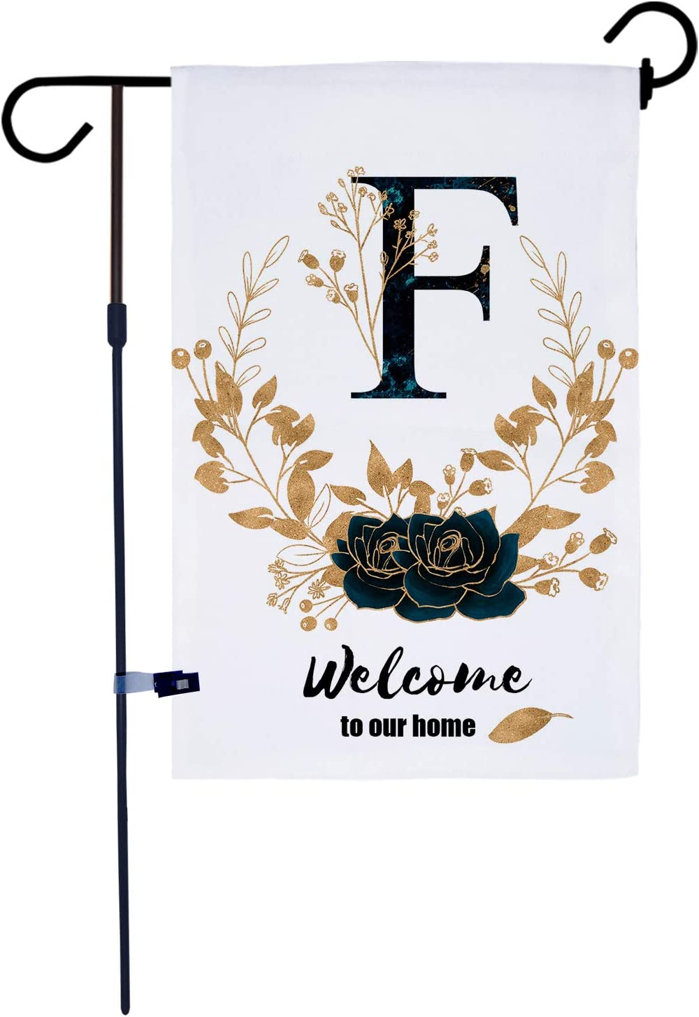 AKPOWER Small Garden Flag Vertical Double Sided Farmhouse Burlap Yard Outdoor Decor Classic Monogram 12 x 18 Inch Letter F