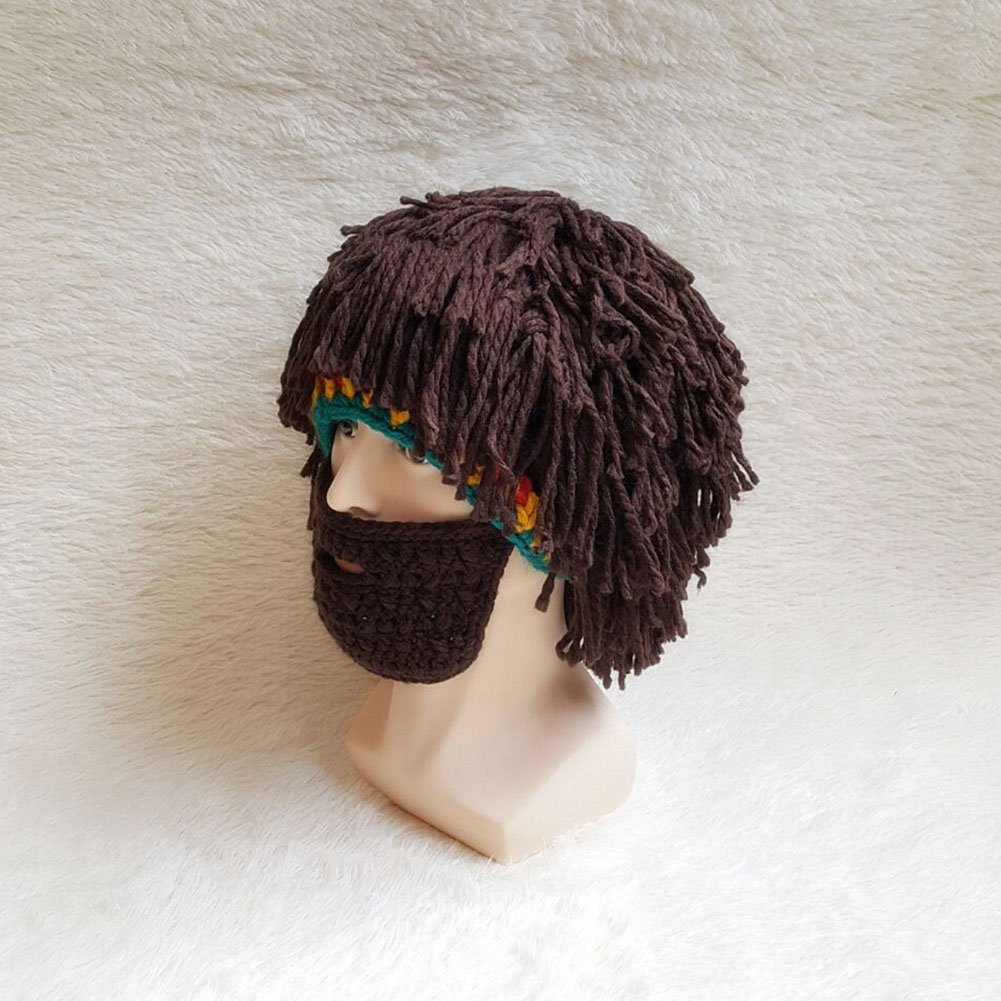 fad38ec4 Mysika Creative Women and Men Beard Mask Wig Funny Knit Wool Crazy Funny  Winter Hats Caps Halloween Cosplay Caps