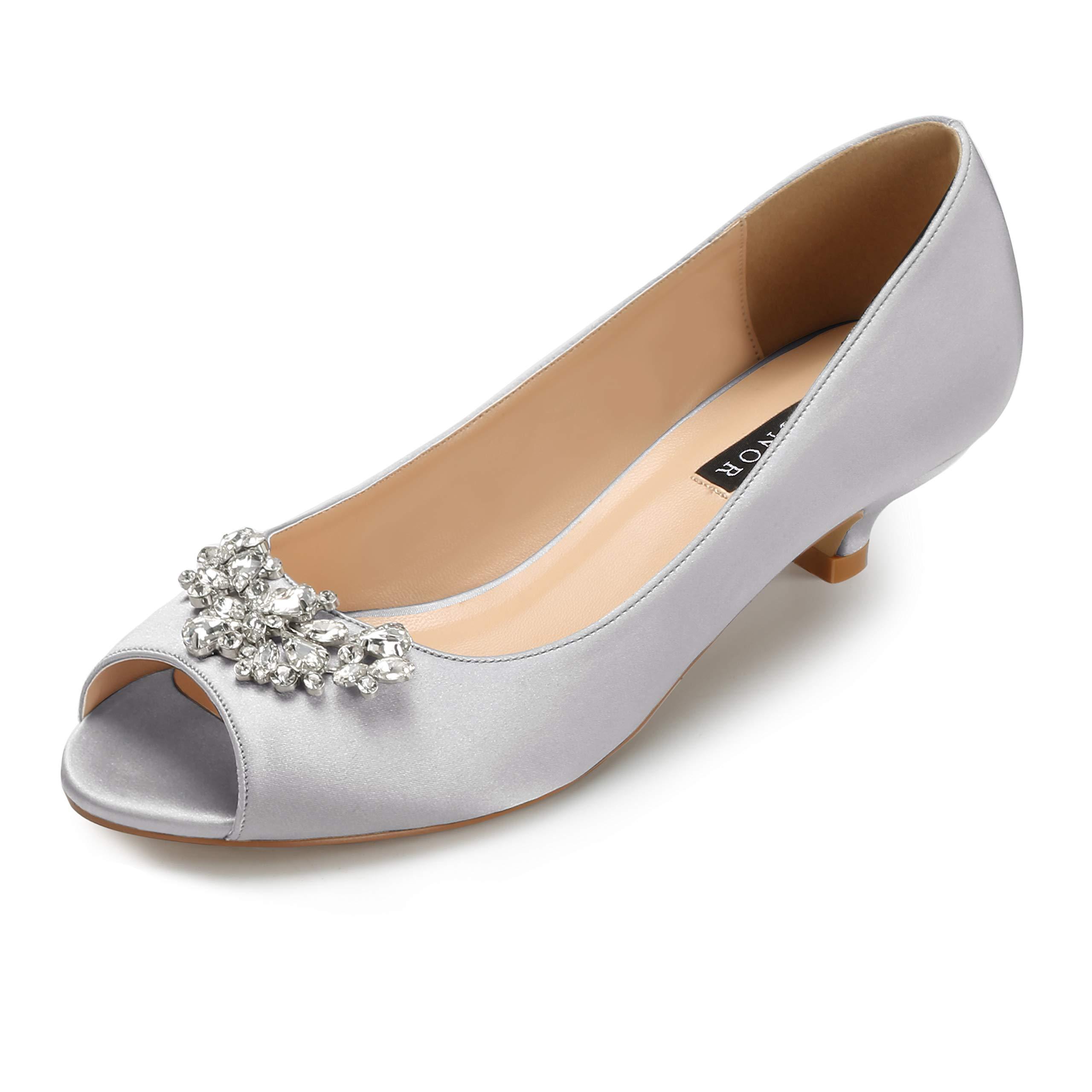 Erijunor E0111 Women Comfort Low Kitten Heels Rhinestones Peep Toe Wedding Evening Party Shoes Dress Pumps Silver Size 9