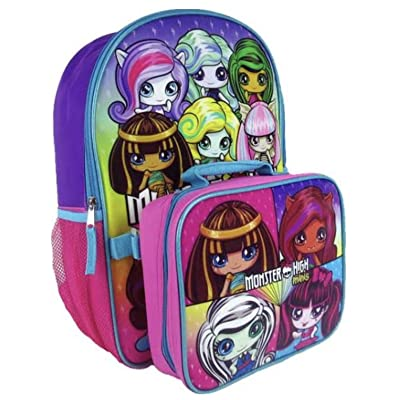 Monster High Minis Full Size Girls Backpack and Insulated Lunchbox Bag | Kids' Backpacks