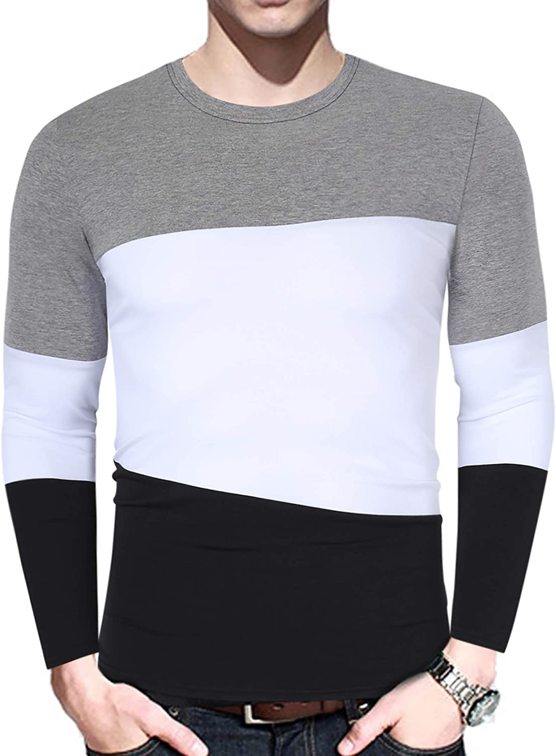 Yong Horse Mens Casual Stitching Tops Shirts Slim Fit Crew Neck Long Sleeve Athletic Basic Cotton T-Shirt