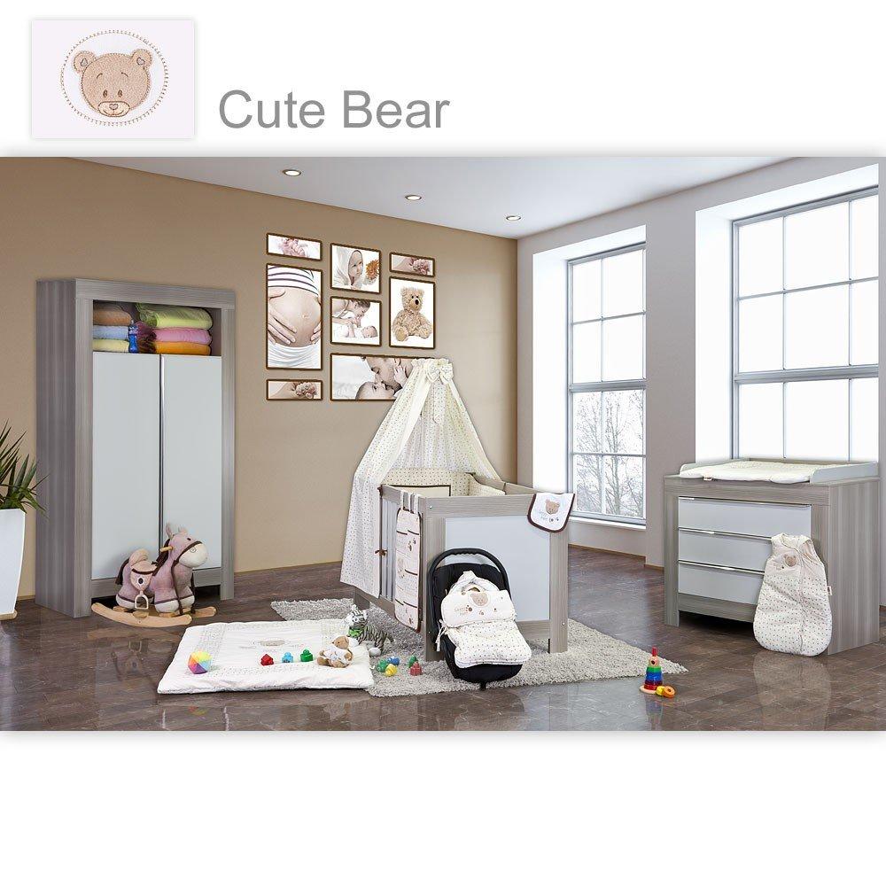 Babyzimmer Felix in akaziengrau 19 tlg. mit 2 türigem Kl. + Cute Bear in Beige