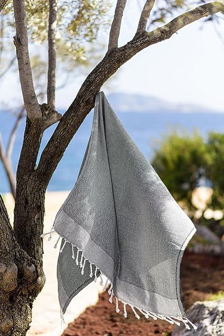 Tradicional turco hammam y toalla de playa, 100% algodón doble capa playa Fouta Peshtemal, Black-Beige: Amazon.es: Hogar