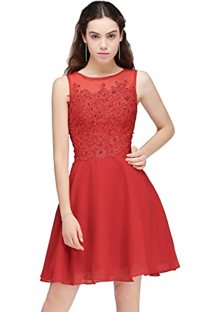 Tulle Sleeveless Red Short Beading Cocktail Party Prom Dress(Customizable) (S, ...