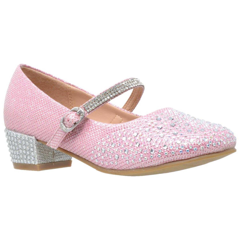 SOBEYO Kids Dress Shoes Glitter Rhinestone Low Heel Mary Jane Pumps Pink SZ 5