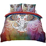 Magichome 3 PCS Duvet Cover with 2 Pillow Shams Elephant Bedding Sets, Mandala Pattern,Bohemia Exotic Design (Twin)