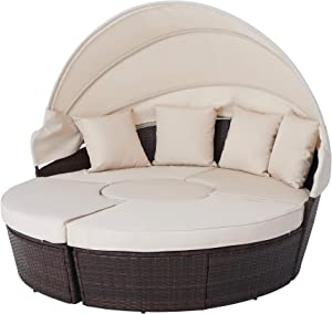 VONLUCE 5pc Modular Wicker Patio Furniture Set with Daybed and Central Stool, Outdoor Sectional Sofa Set with Rattan Daybed or 4 Chairs, Round Table, Retractable Canopy, Pillows, Cover, Beige