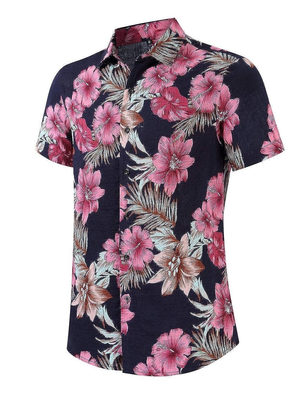 VividYouMen Leisure Relaxed-Fit Beach Hawaiian Boho Short-Sleeve Business Shirts