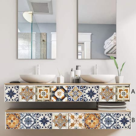 qingmo Vintage Pattern Decorativo Escalera Azulejo Adhesivo 20cmx100cm Cuarto De BañO PVC Adhesivo para Azulejos Cocina Suelos De Vinilo Pegatinas De Baldosas UNA: Amazon.es: Hogar