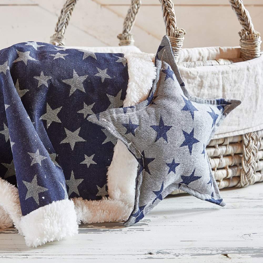 Stephan Baby Stephan Baby 13 Reversible Star-Shaped Denim Pillow 10 x 10 Indigo//White Stars and White//Indigo Stars
