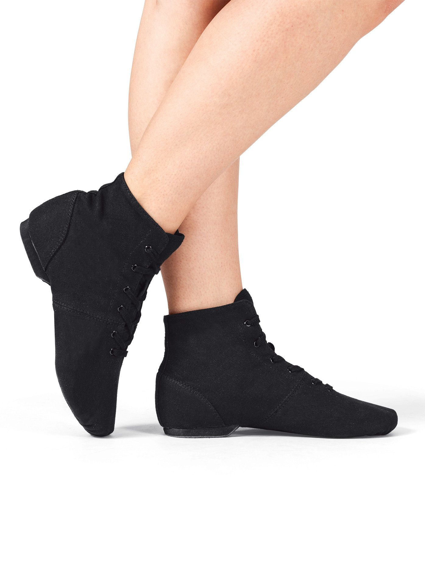 Adult ''Broadway Jazz'' Over-the-Ankle Canvas Jazz Boot,T7502BLK09.0M,Black,09.0M