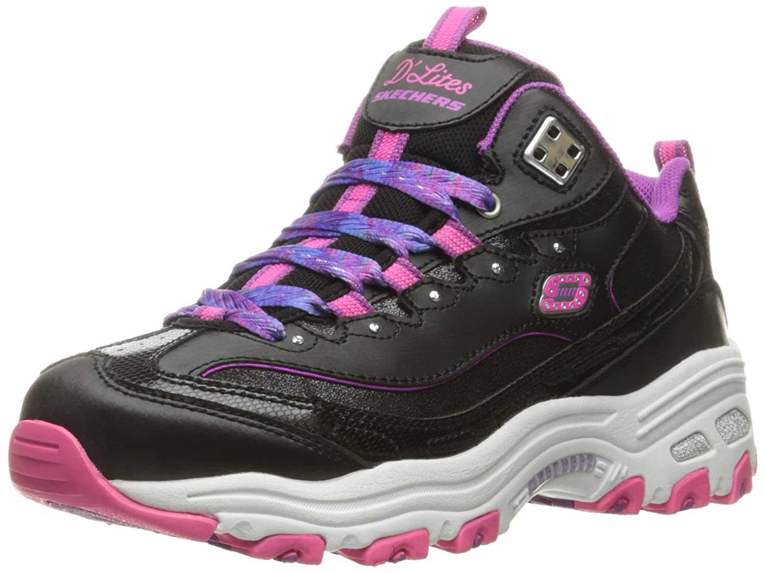Skechers Kids Girls' D'Lites-Wild Bling Sneaker, Black/Pink/Purple, 12 M US Little Kid