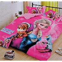 Glace Cotton Cartoon Print Comforter Set for Single Bed (1 Single bedsheet,1 Pillow Cover,1 Comforter)-Frozen,Pink