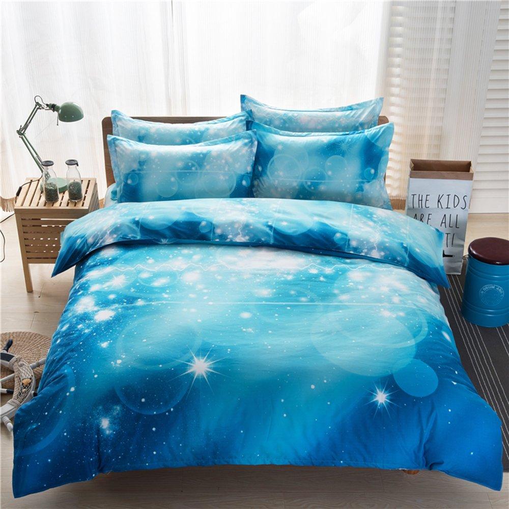 Vinmax Galaxy 3D Bedding Sets 4pc Mysterious Sky Night Bedding Sheet Sets, Duvet Cover, Flat Sheet, 2 Pillowcase (no Comforter inside) (B, 78.7490.55 in)
