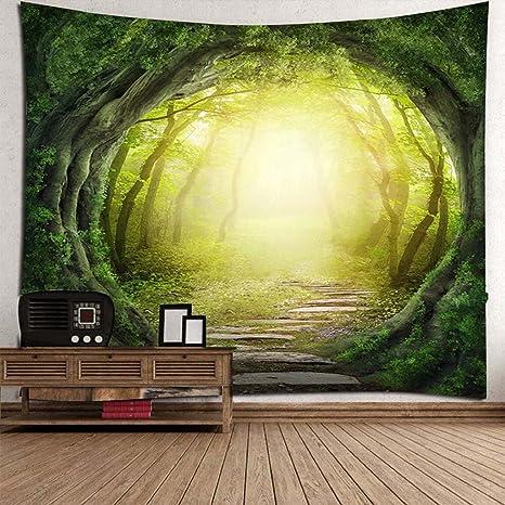 Nature Tapestry Sun Scheint Durch Fantasy Fairy Forest Trails Natur Landschaft Wandbehang