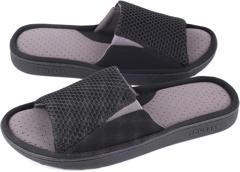 LongBay Men's Comfy Memory Foam Slide Slippers Breathable Mesh Cloth House Shoes