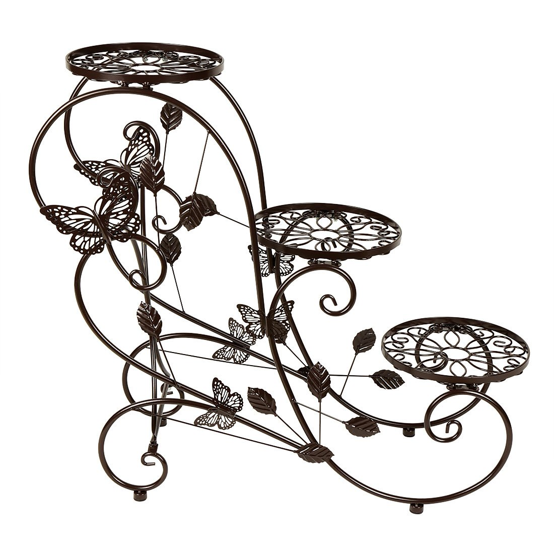 HLC Classic Plant Stand Shelf Holds 3-flower Pot Bronze by HLC