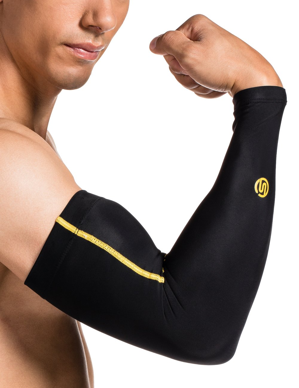 SKINS Men's Essentials Compression Sleeves, Black/Yellow, X-Small by Skins (Image #3)