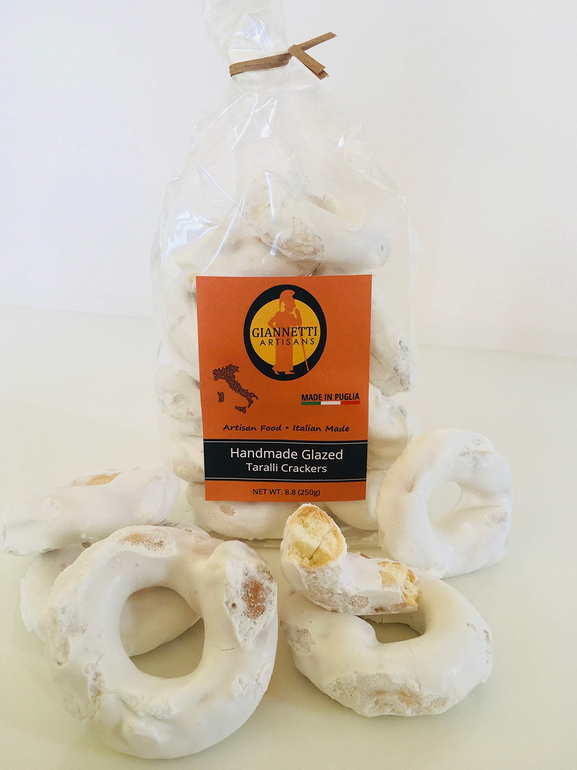 Giannetti Artisans Handmade Frosted Taralli Crackers from Apulia, Italy 8.8 oz (250 gr)