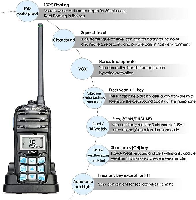 Retevis RT55 Walkie Talkie VHF Marine CH 2-Way Radio NOAA Weather Alert IP67