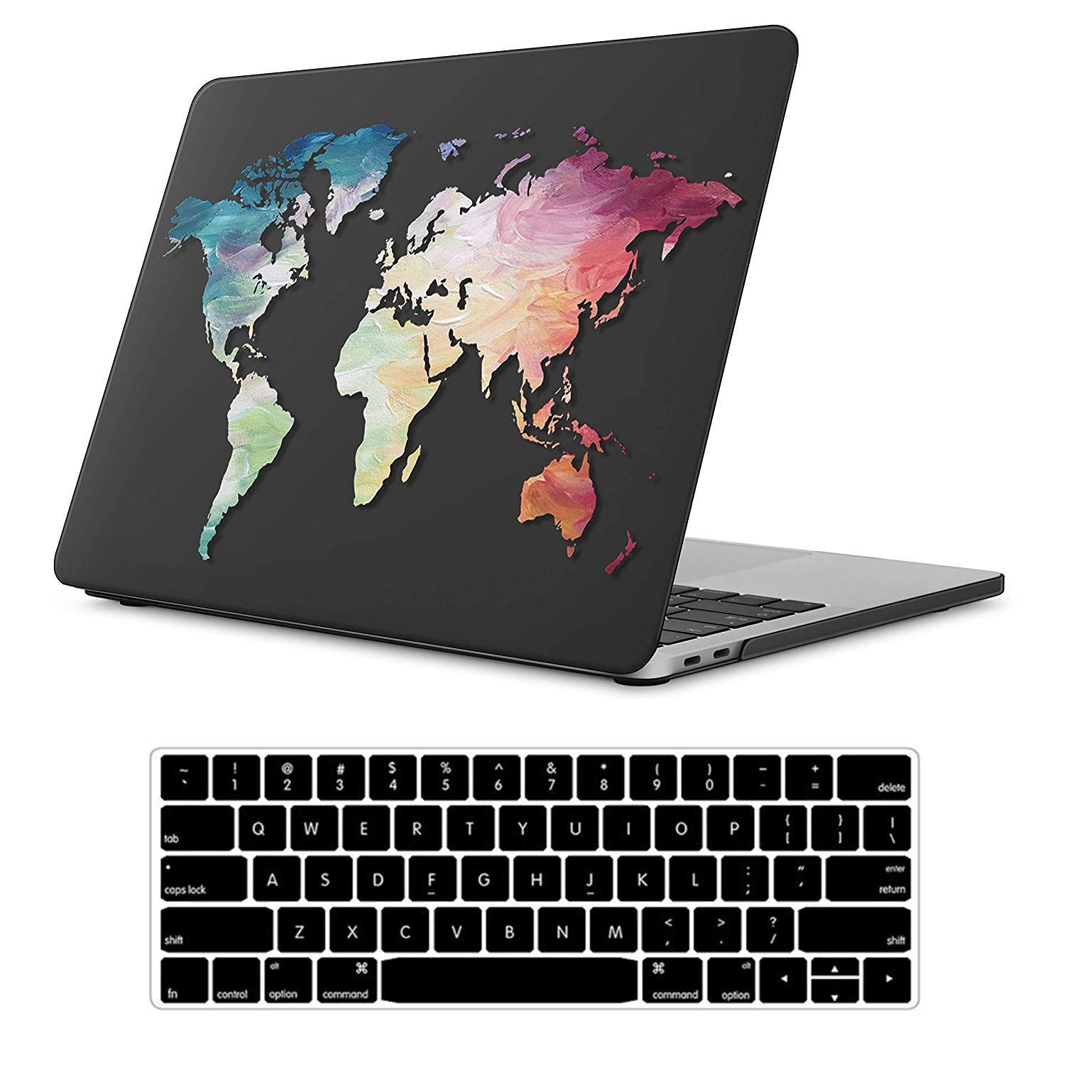 iLeadon MacBook New Pro 13'' Case 2018&2017&2016 Release A1989/A1706/A1708 Rubberized Hard Shell Case Cover+Keyboard Cover for MacBook Pro 13 W/Without Touch Bar & Touch ID, Black Map