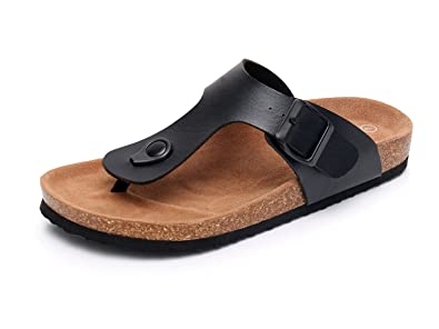 b0135daf4624f5 Men s Slip on Flat Cork Sandals with Adjustable Strap Buckle Open Toe  Slippers Suede Sole (