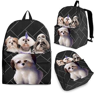 Amazoncom Lovely Shih Tzu Dog Print Backpack Set For Kids And