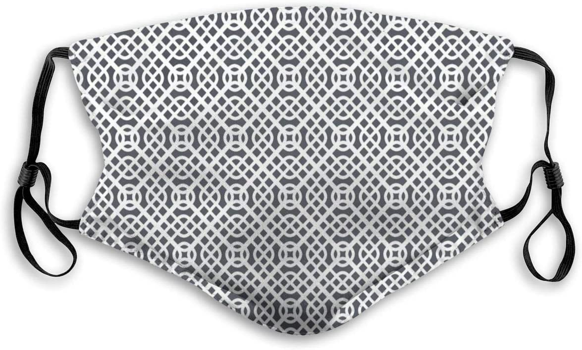 Amazon Com 573 Comfortable Windproof Mask Curved Diagonal Lines With Complex Monochrome Design Vintage Inspiration Printed Facial Decorations For Unisex Home Kitchen