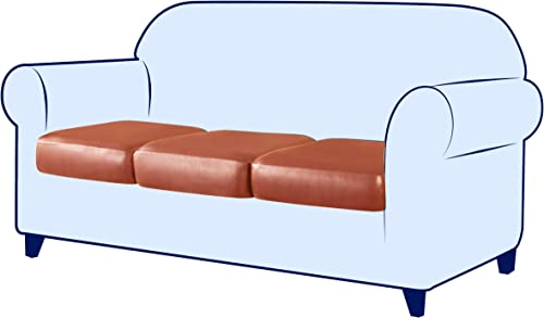 subrtex Stretch Cushion Cover Leather Seat Cushion Cover Couch Cushion Slipcover Sofa Cushion Furniture Protector Sofa Slipcover Waterproof 3pack,Orange