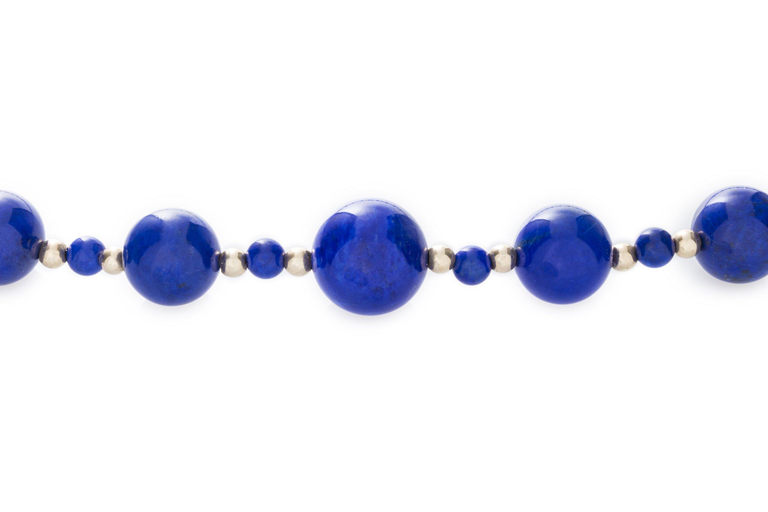 ISAAC WESTMAN 14K Yellow Gold Graduated Lapis Lazuli Gemstone Beaded Necklace | 20'' Matinee Length by ISAAC WESTMAN (Image #5)