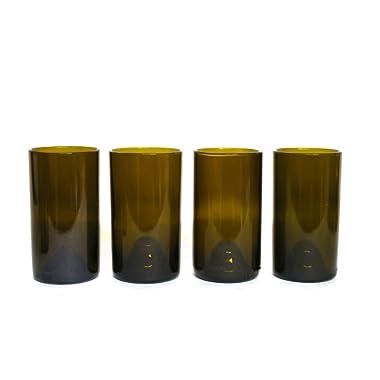 Refresh Glass Recycled Wine Bottle Glasses, 16oz set (Amber)