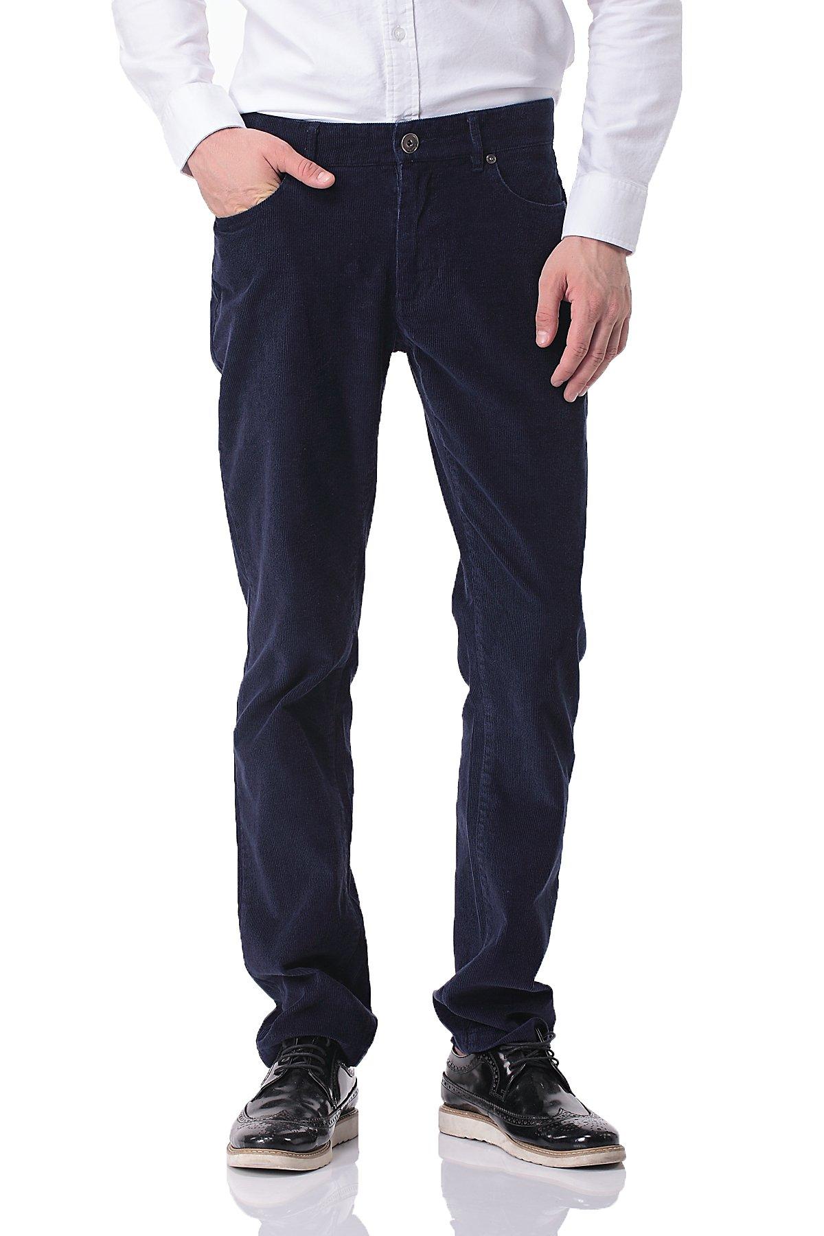 Pau1Hami1ton PH-06 Men's Corduroy Pants Straight Leg Slim Fit Casual Trousers(34,Blue)