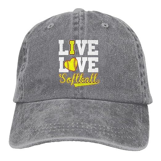 Amazon.com  Cotton Denim Cap Baseball Hat I Love Softball Baseball  Six-Panel Adjustable Trucker Dad Hat  Clothing c0d95db7649