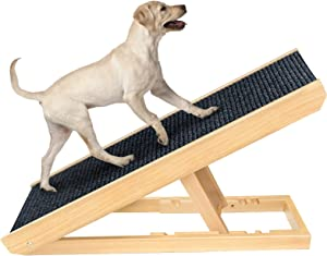 Senneny Wooden Adjustable Pet Ramp - Folding Portable Dog & Cat Ramp Perfect for Bed and Car - Non Slip Carpet Surface Height Adjustable Ramp Up to 100 Lbs