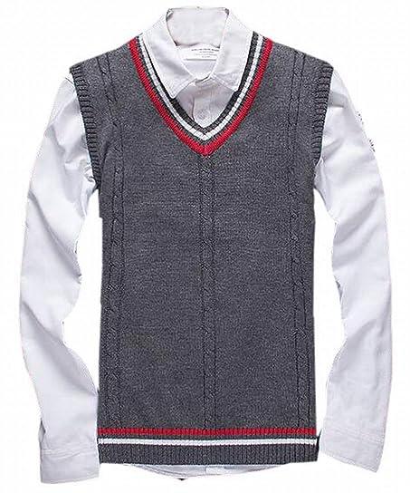 WSPLYSPJY Men Casual V-neck Sleeveless Pullover Sweater Vests Dark ...