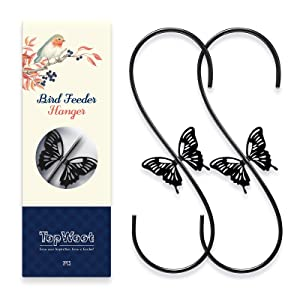 TopWoot Attractive S Hooks for Hanging, 2 Pack Steel S Shaped Hanger, Heavy Duty Garden Hangers for Hanging Plants, Garage Tools, Coffee Cups, Mugs, Clothes in Closet (Black)