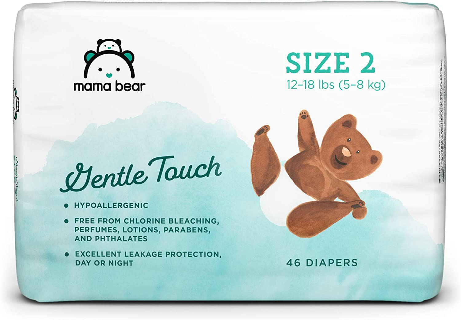 Amazon Brand - Mama Bear Gentle Touch Diapers, Hypoallergenic, Size 2, 46 Count