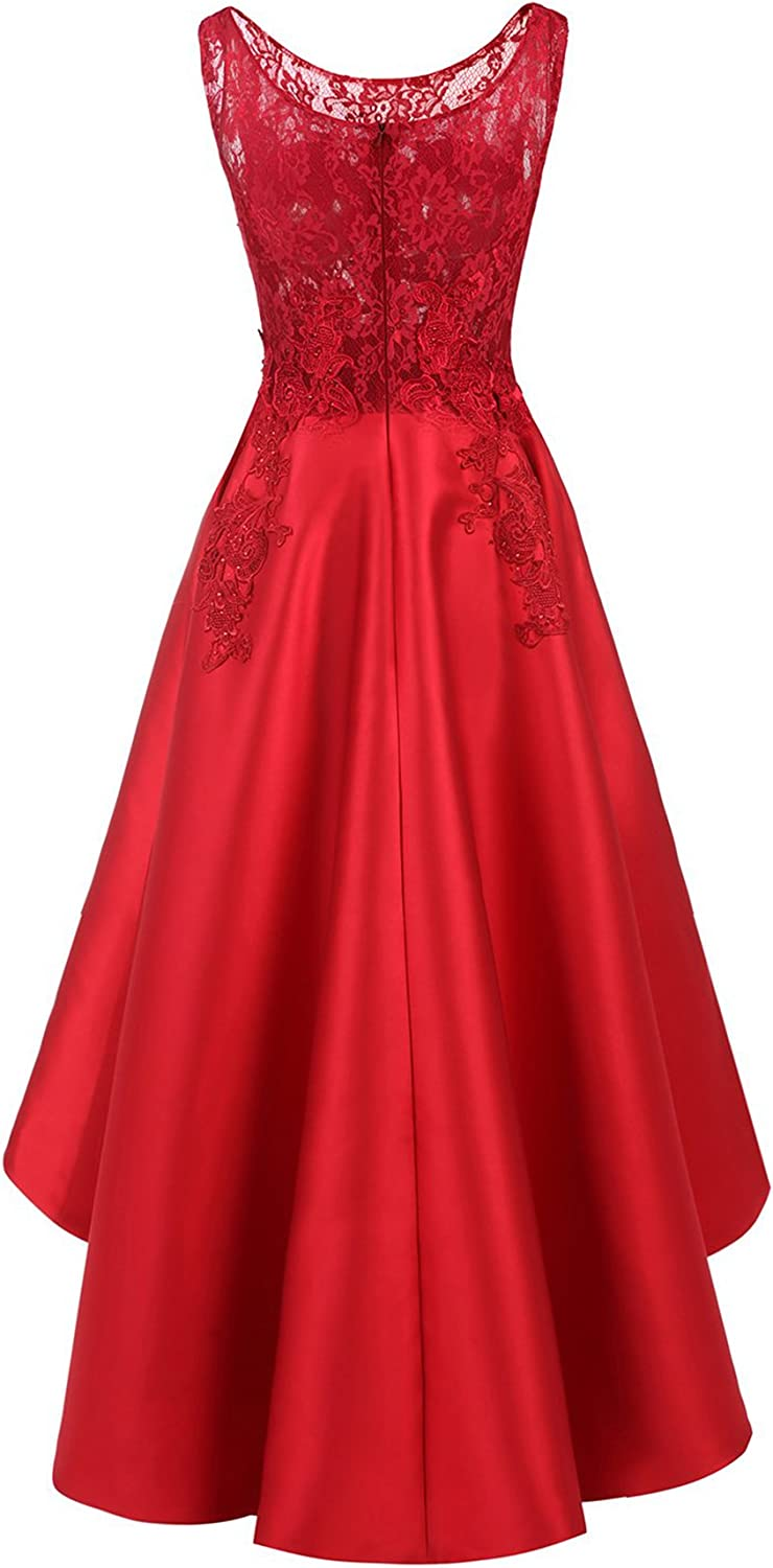 Womens Lace Evening Prom Dresses High Low Bridesmaid Homecoming Party Gowns BR12