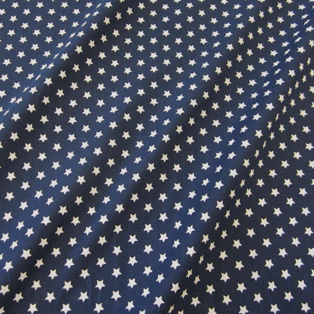 Stoff Baumwollstoff Baumwolle Sterne marine blau dunkelblau Popeline ...