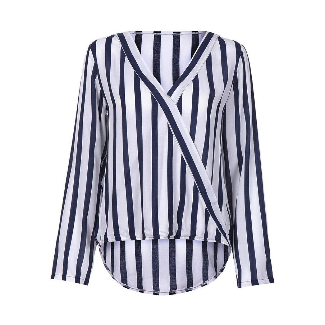 3442a4b60f7 vermers Clearance Women Tops Work Office Wear Ladies Casual Striped Long  Sleeve T Shirt Irregular Blouse Tee at Amazon Women s Clothing store
