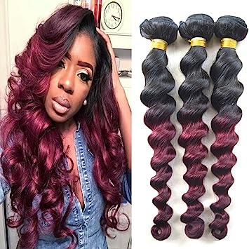 Amazon 3 bundles of 18 inches loose wavy burgundy ombre 100 3 bundles of 18 inches loose wavy burgundy ombre 100 human hair weave african american pmusecretfo Gallery