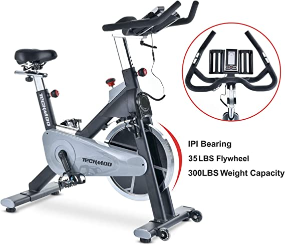 TECHMOO Indoor Exercise Bike Fitness Upright Exercise Bike Magnetic Resistance Belt Drive Home Cycling Exercise Bike Indoor Stationary Bike Bicycle for Cardio Workout Losing Weight